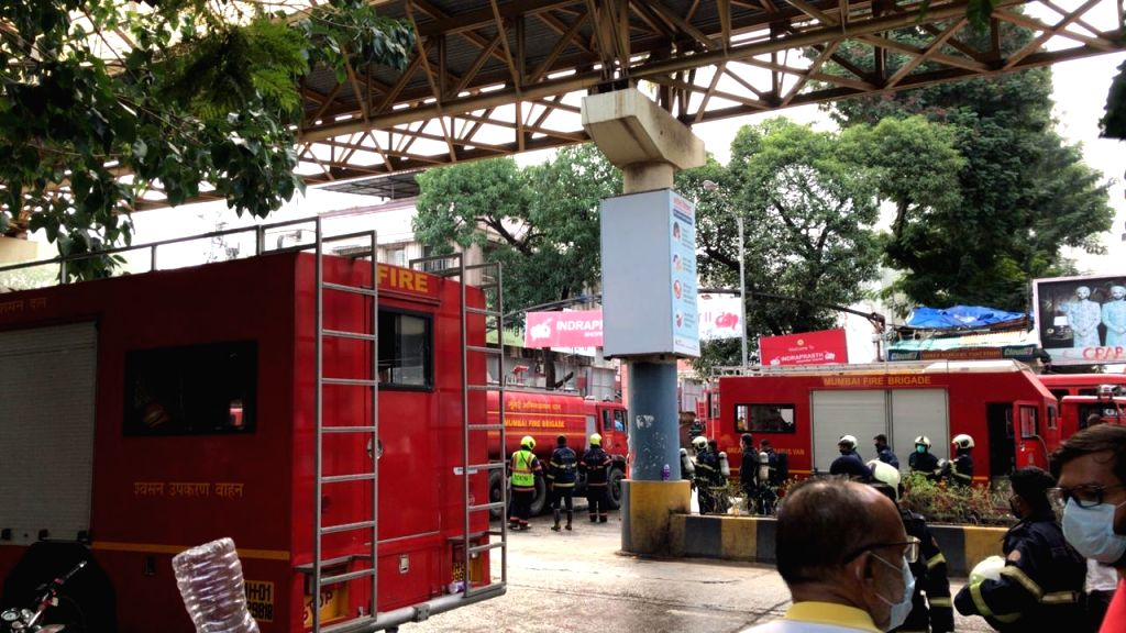 Firefighting operations underway in the basement of the Independent Shopping Centre outside Borivali West Railway station where a major fire broke out, early on the morning of July 11, 2020.