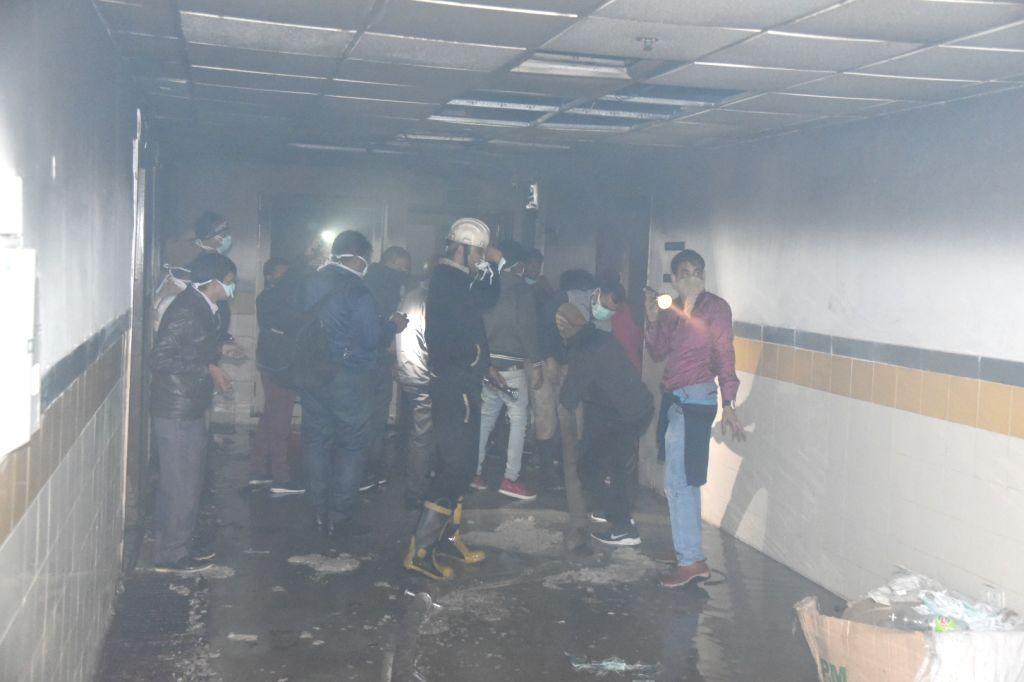 Firefighting operations underway in the basement of the seven-storey ESI hospital where fire occurred in a battery, in Noida sector 24 on Jan 9, 2020.