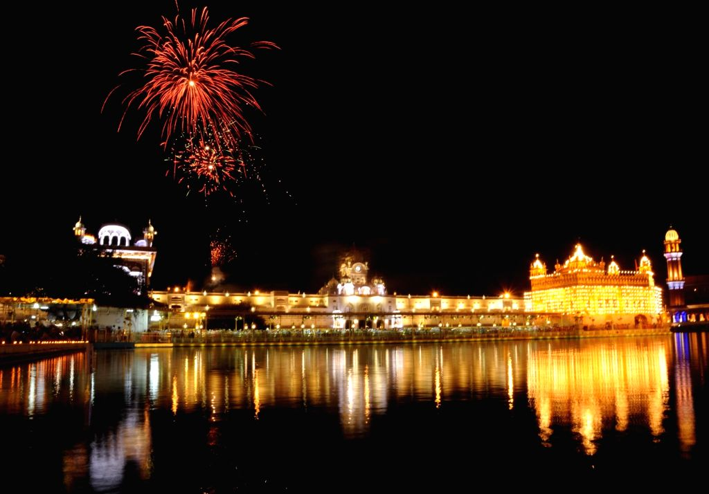 Fireworks at the Golden Temple on the occasion of the birth anniversary of fifth Sikh master Sri Guru Arjan Dev Ji, in Amritsar on April 7, 2018.