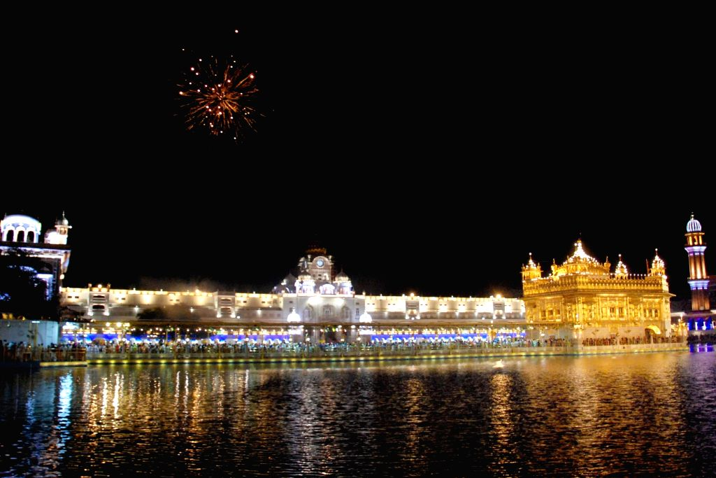 Fireworks at the Golden Temple on the occasion of birth anniversary celebrations of the ninth Sikh Guru, Guru Tegh Bahadur, in Amritsar on April 24, 2019.