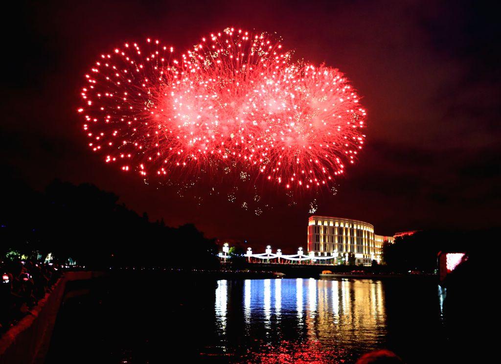 Fireworks explode in the sky to celebrate the Belarus Independence Day in Minsk, Belarus, July 3, 2020. In December 1996, Belarusian President Alexander Lukashenko ...