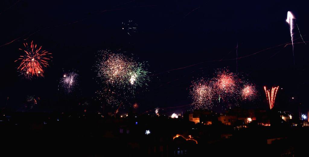 Fireworks light up Jaipur sky on Makar Sankranti on Jan 14, 2017.
