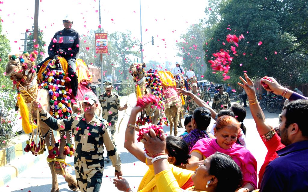 The Women Camel Safari-2015 en-route to Attari from Fazilka under the leadership of Dr. Sujata Shinde passes through Amritsar on March 21, 2015. 13 BSF Mahila Constables and 14 women from ...