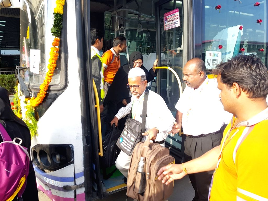 First batch of Haj pilgrims depart from Rajiv Gandhi International Airport in Hyderabad on July 18, 2019.