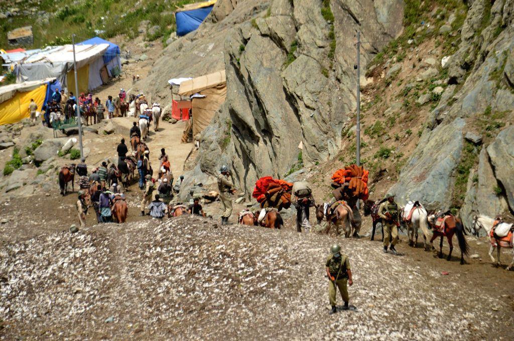 First batch of pilgrims on Amarnath Yatra from Pahalgam base-camp on July 2, 2016.
