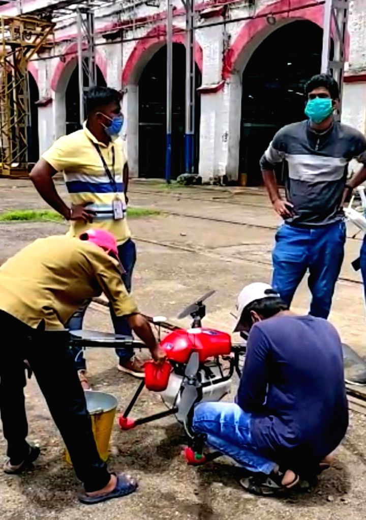 First time in Indian Railways, the Western Railway partnered with the BMC, and deployed 2 drones to chase vectors, pests from the 144-year old Lower Parel Workshop, in Mumbai on July 14, 2020.