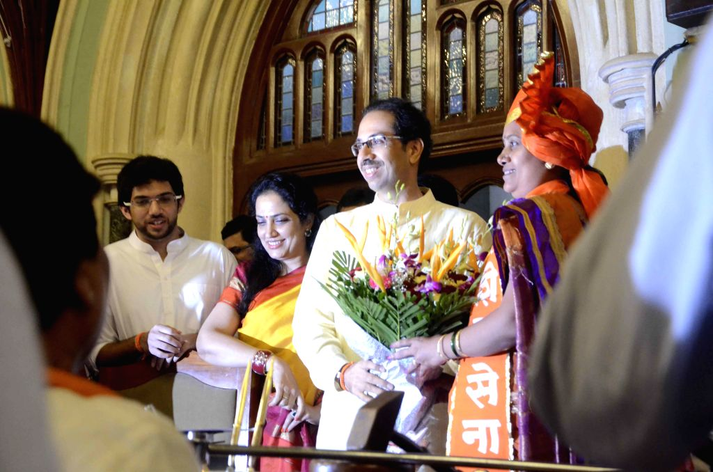 First-time Shiv Sena corporator and the 73rd Mayor of Mumbai, Snehal Ambekar being felicitated by party chief Uddhav Thackeray in Mumbai on Sept 9, 2014. Ambekar, 42, is the fourth woman to occupy ...
