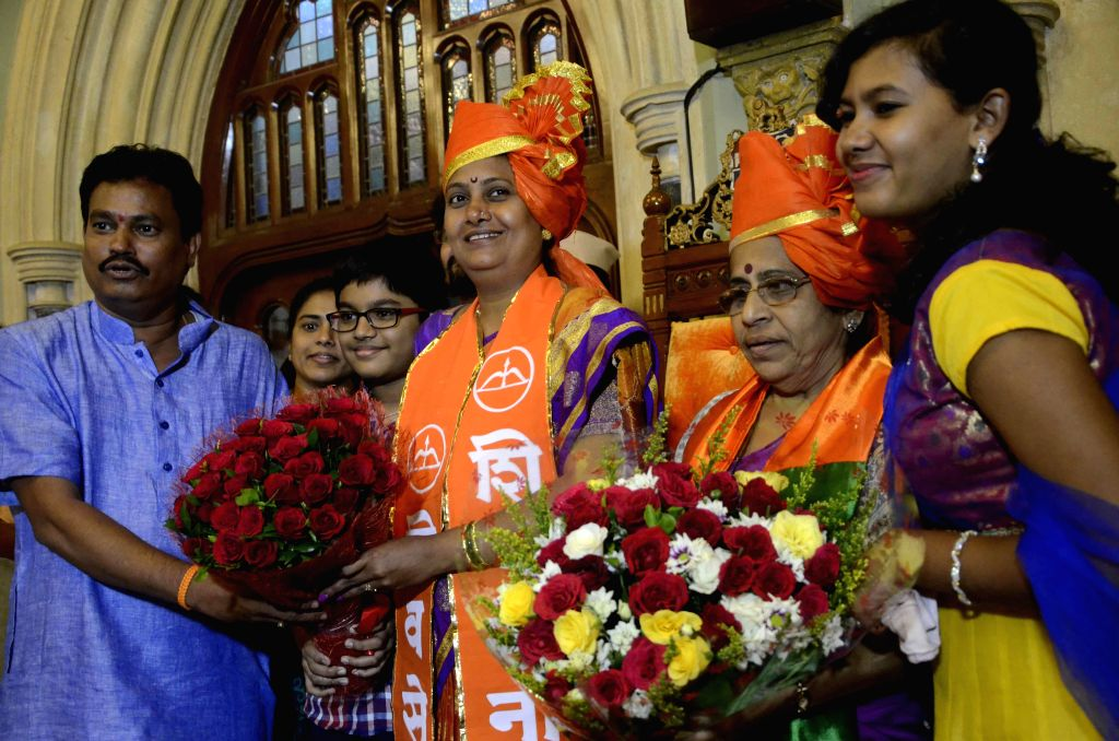 First-time Shiv Sena corporator Snehal Ambekar being felicitated after being elected the 73rd Mayor of Mumbai on Sept 9, 2014. Ambekar, 42, is the fourth woman to occupy the post in the 124-year-old .