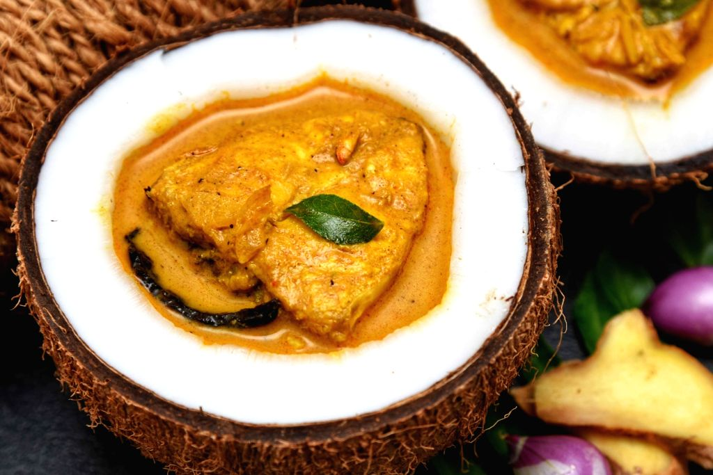 Fish curry with coconut milk.