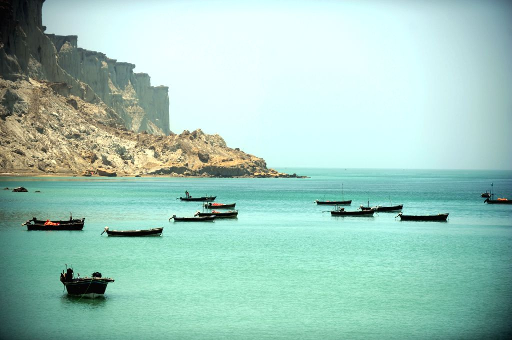 : Fishboats berth in the bay of Gwadar, southwestern Pakistan, on May 11, 2015. Most of local residents in Gwadar live on fishing. Gwadar Port, a warm-water, ...