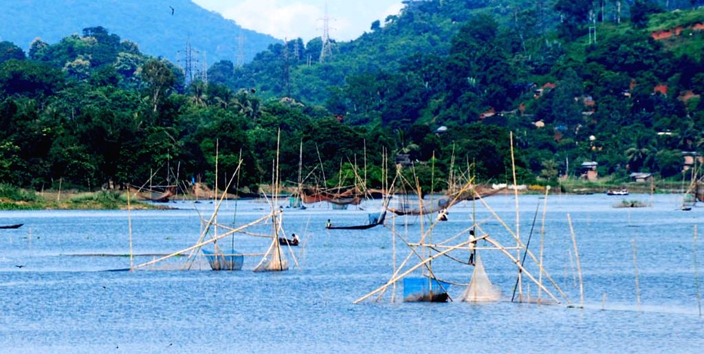Fisherman fishing with indegenous nets at Bonda Lake, outskirts of Guwahati City on Friday 16th August 2013.