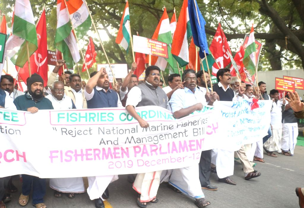 Fishermen from Kerala take out a protest march to Parliament, opposing the National Marine Fisheries (Regulation and Management) Bill 2019, in New Delhi on Dec 12, 2019.