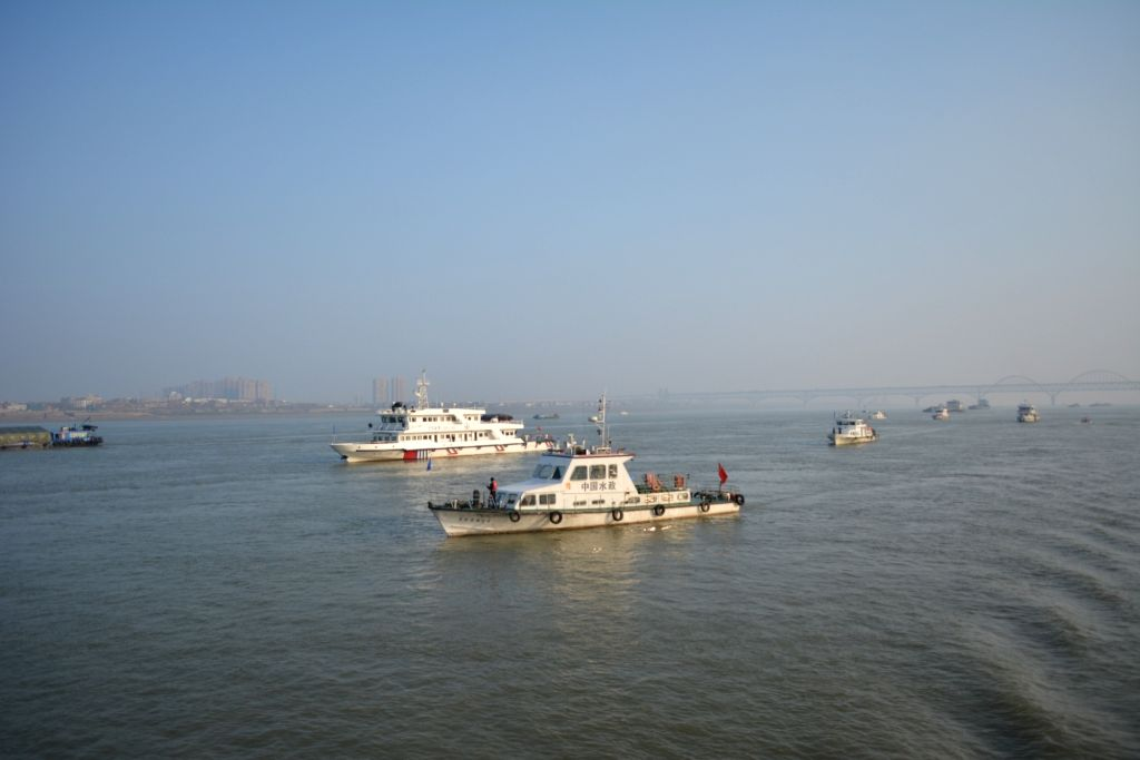 Fishery administrative boats cruise to inspect the implementation of fishing ban in the Yangtze River on Jan. 8, 2020. China on Jan. 1 began a 10-year fishing ban ...