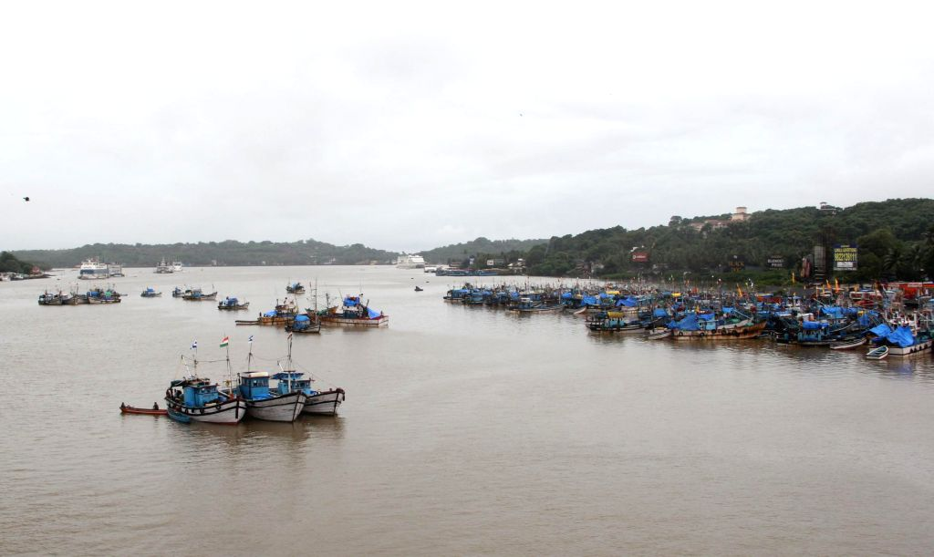 Fishing trawlers anchored near the Malim jetty for last four days due to rough weather in Goa on Sept 3, 2014.