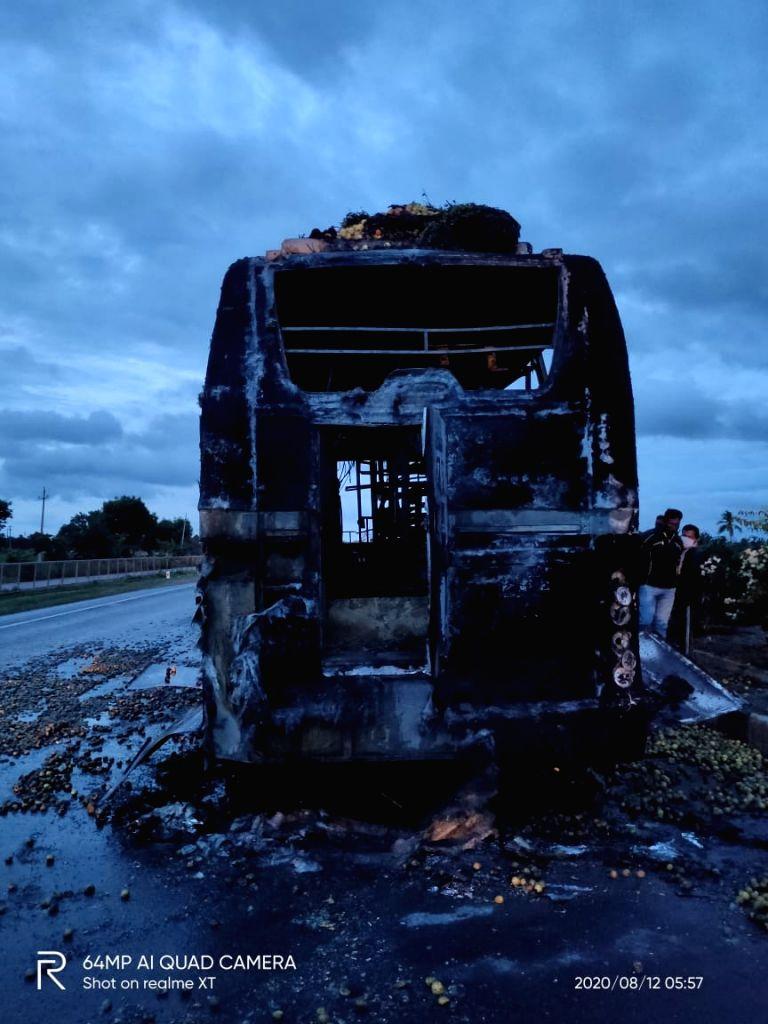 Five family members burnt alive in Karnataka bus accident.