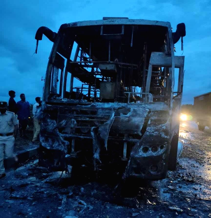 Five family members burnt alive in Karnataka bus accident.