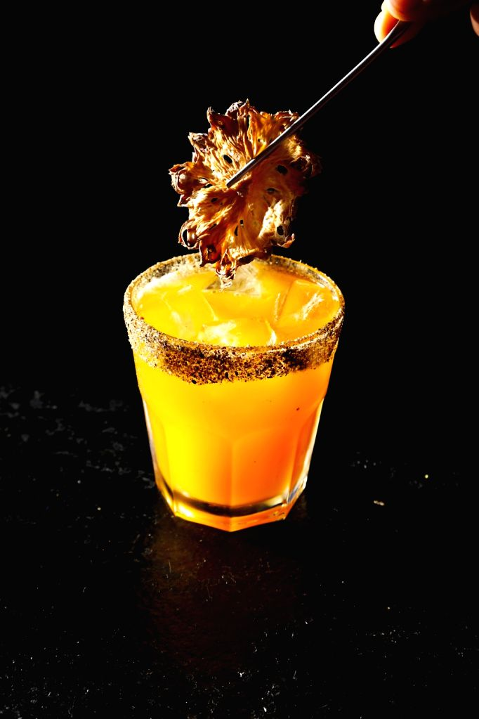 Five Finger Death Punch Margarita: Tequila and delectabble honey Agave syrup with orange juice, lime and a kcker of panch phoron stirred to perfection.