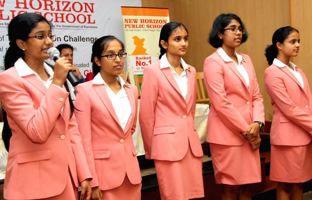 Five girl students from Bengaluru developed a Swachh Bharat mobile App `christened Sellixo` addresses a press conference in Bengaluru on June 29, 2015. The girls Sanjana Vasanth, Anupama ... - Swasthi P Rao