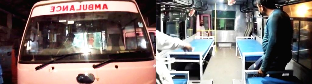 Five mini roadways buses converted into ambulances.