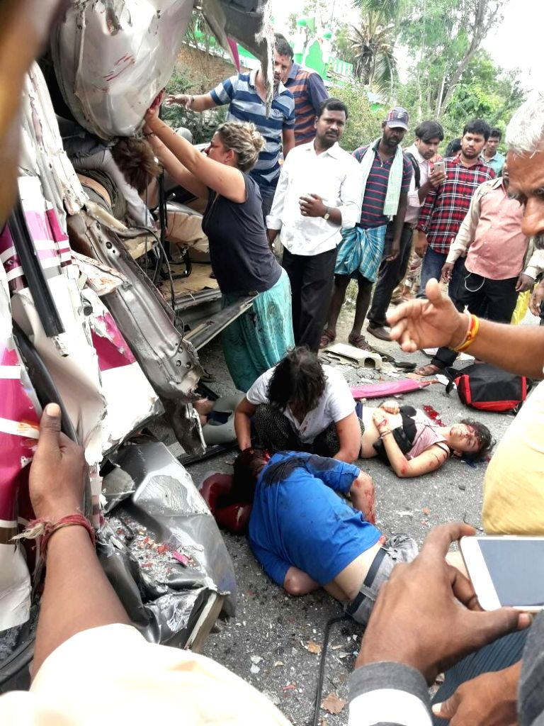Five people, including four Spanish nationals, were killed in a road accident after a mini-bus collided head-on with a truck in Andhra Pradesh's Chittoor district on Aug 5, 2017. Four ...