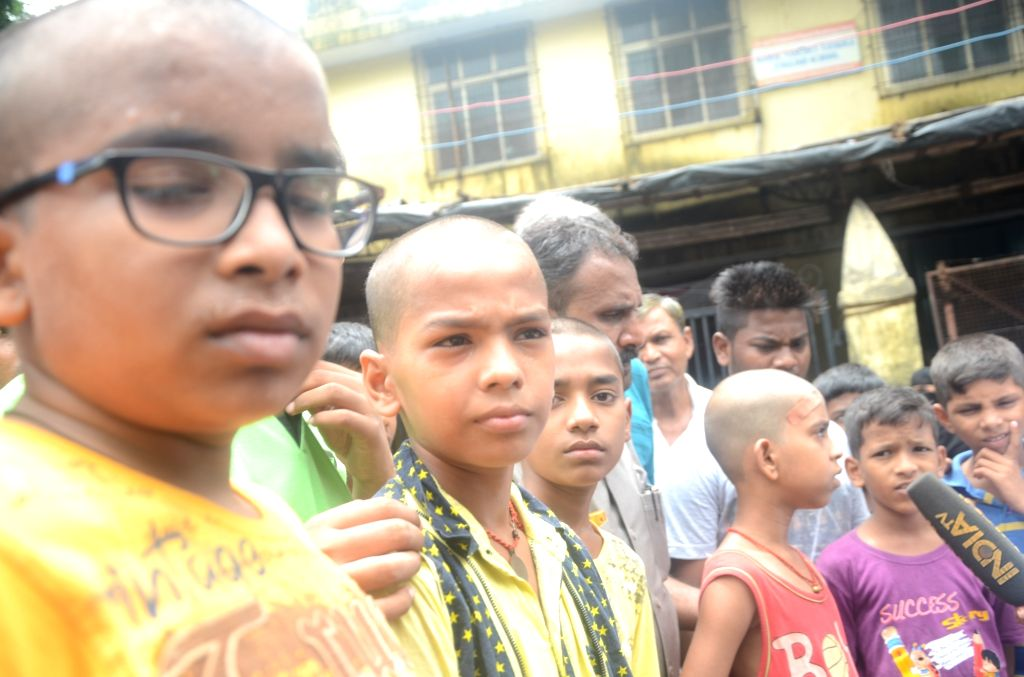 Five students who were punished and their hair was cut by a school teacher in Mumbai on July 1, 2017.