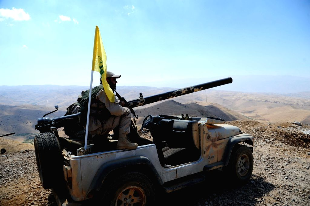 FLEITA, Aug. 3, 2017 - A military jeep of the Lebanese Hezbollah group is seen in the Syrian barren region of Fleita in western Syria near Lebanon as preparations were underway to transfer ...