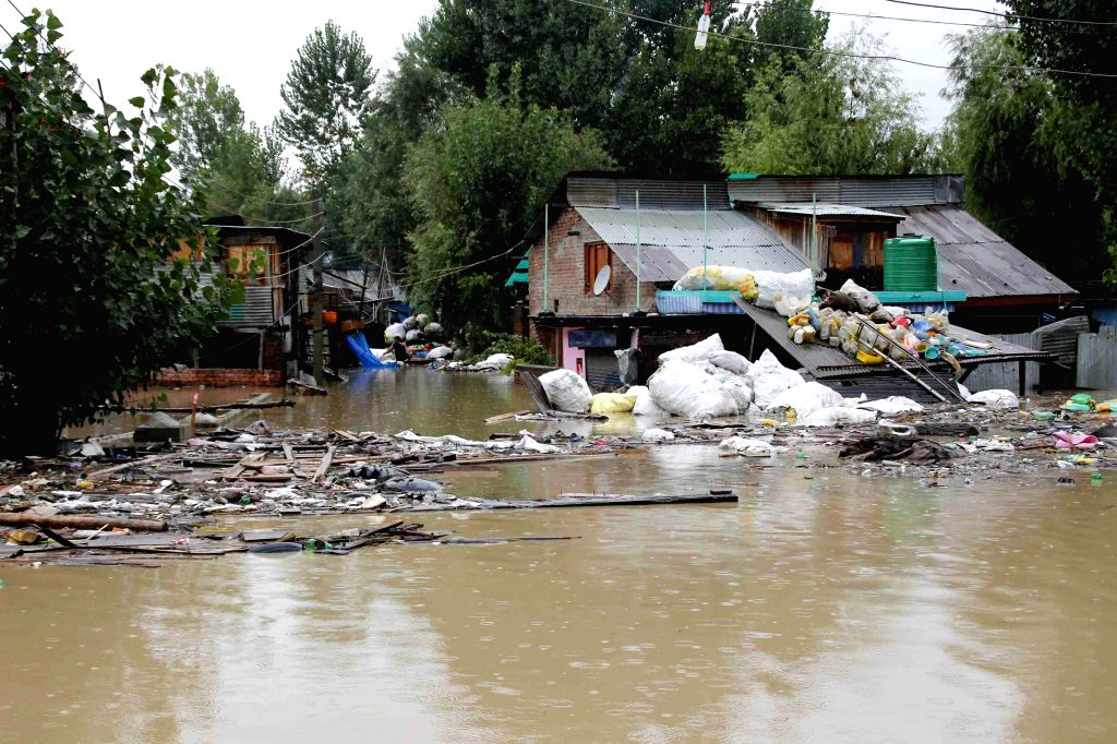 Flood affected areas in Srinagar after heavy rains on Sept. 6, 2014.
