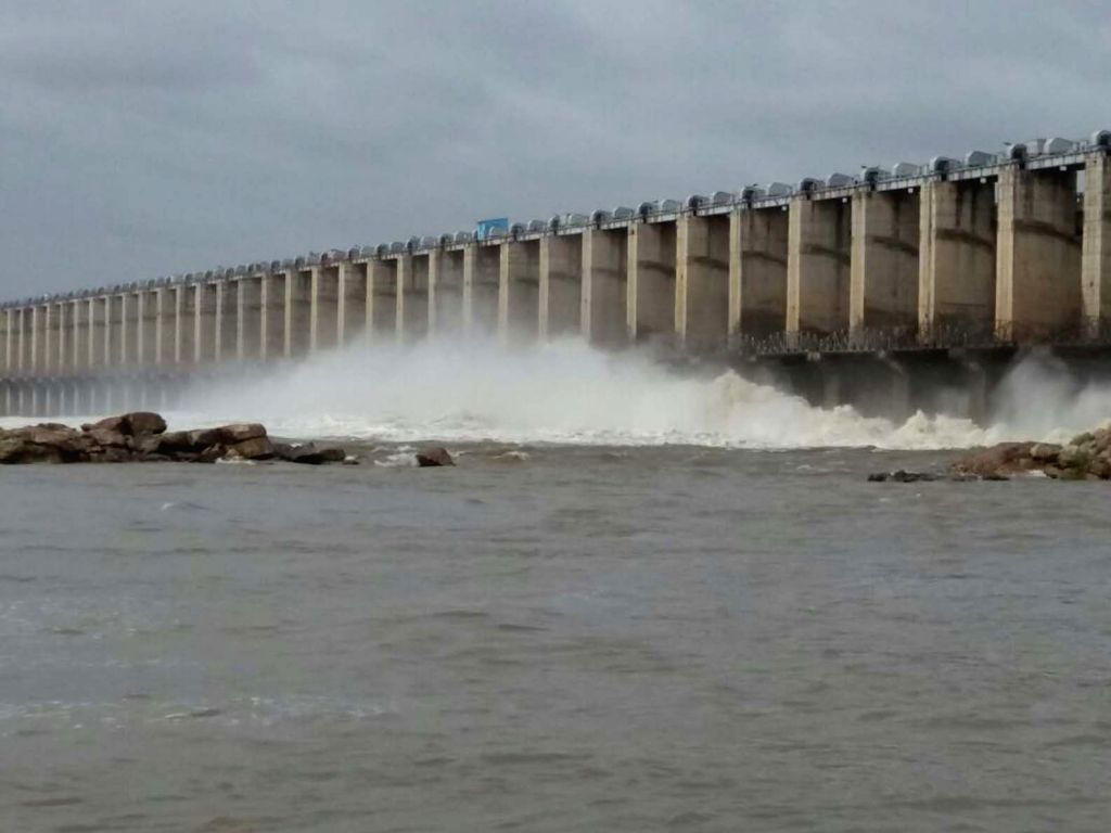 Flood gates of Jurala Project opened at Mahabubnagar, Telangana, on July, 20, 2018.