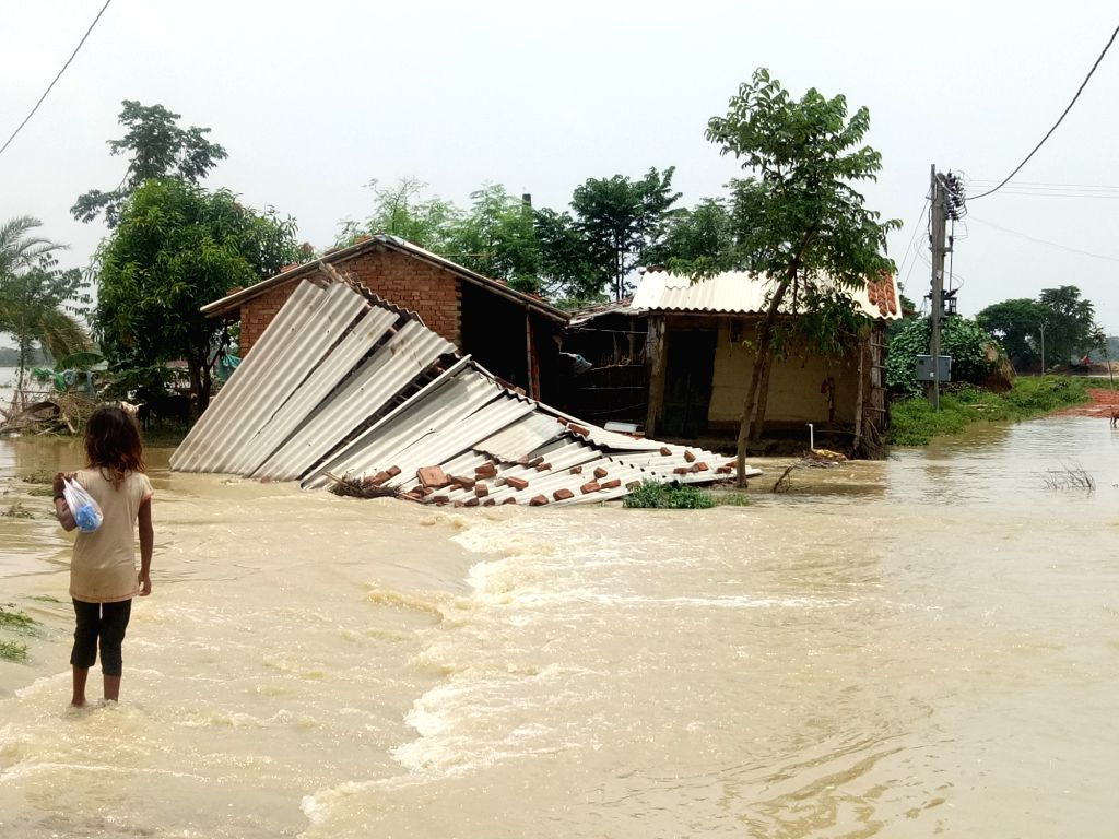Flood waters inundate Bihar's Madhubani, on July 16, 2019.
