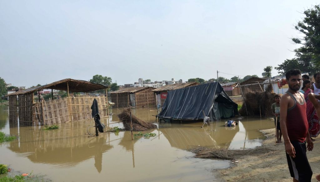 Flood waters inundate Bihar's Sheikhpura, on July 17, 2019.
