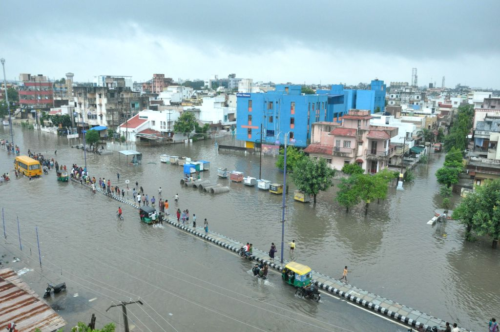Flooded roads of Vadodara after heavy rains in the city on Sept 9, 2014.