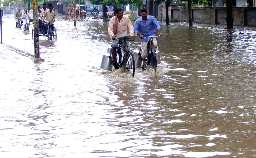 Flooded streets of Varanasi on July 4, 2017.