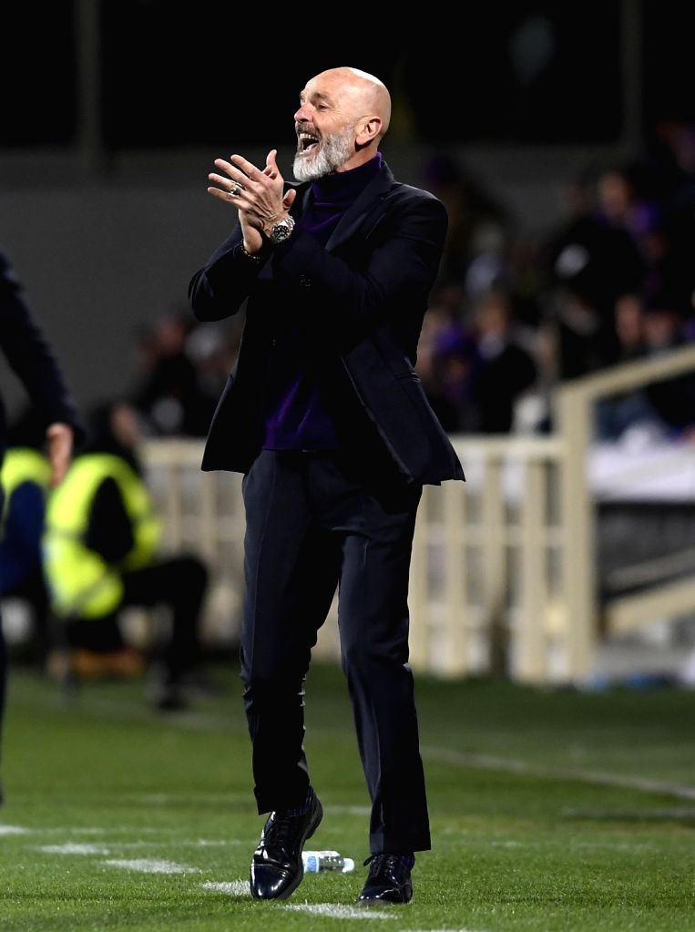 FLORENCE, Feb. 25, 2019 - Fiorentina's head coach Stefano Pioli reacts during a Serie A soccer match between Fiorentina and Inter Milan in Florence, Italy, Feb. 24, 2019. The match ended in a 3-3 ...