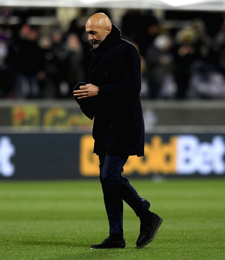 FLORENCE, Feb. 25, 2019 - Inter Milan's head coach Lucian Spalletti reacts during a Serie A soccer match between Fiorentina and Inter Milan in Florence, Italy, Feb. 24, 2019. The match ended in a 3-3 ...