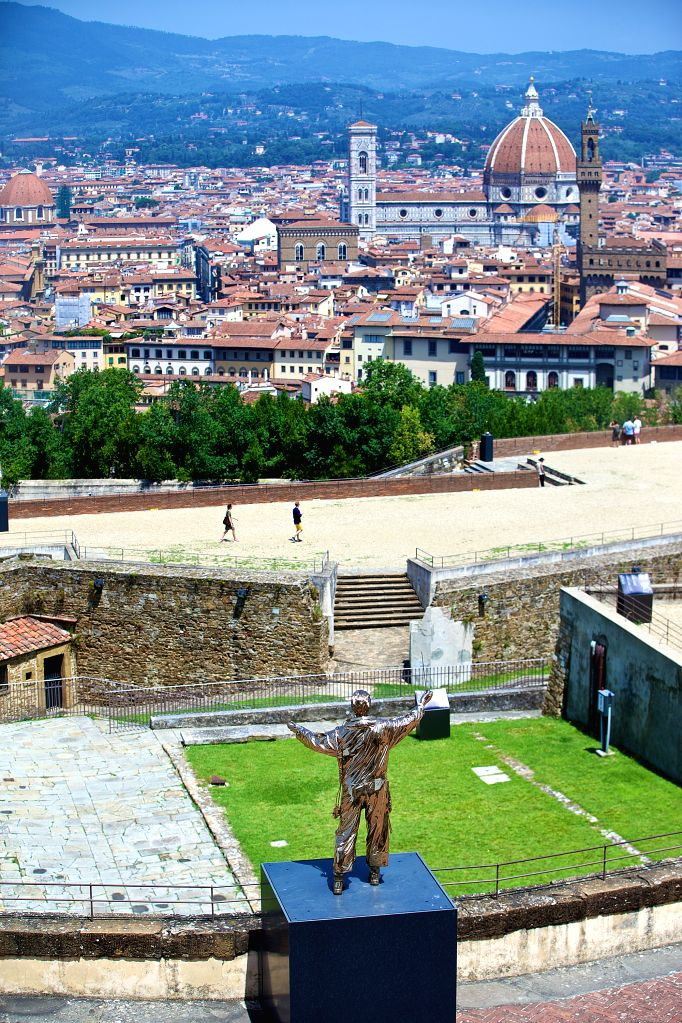 """FLORENCE, June 25, 2016 - Photo taken on June 24, 2016 shows the exhibit """"The Man Who Conducts the Stars"""" at the Forte Belvedere in Florence, Italy. Roughly one hundred of Belgian ... - Jan Fabr"""