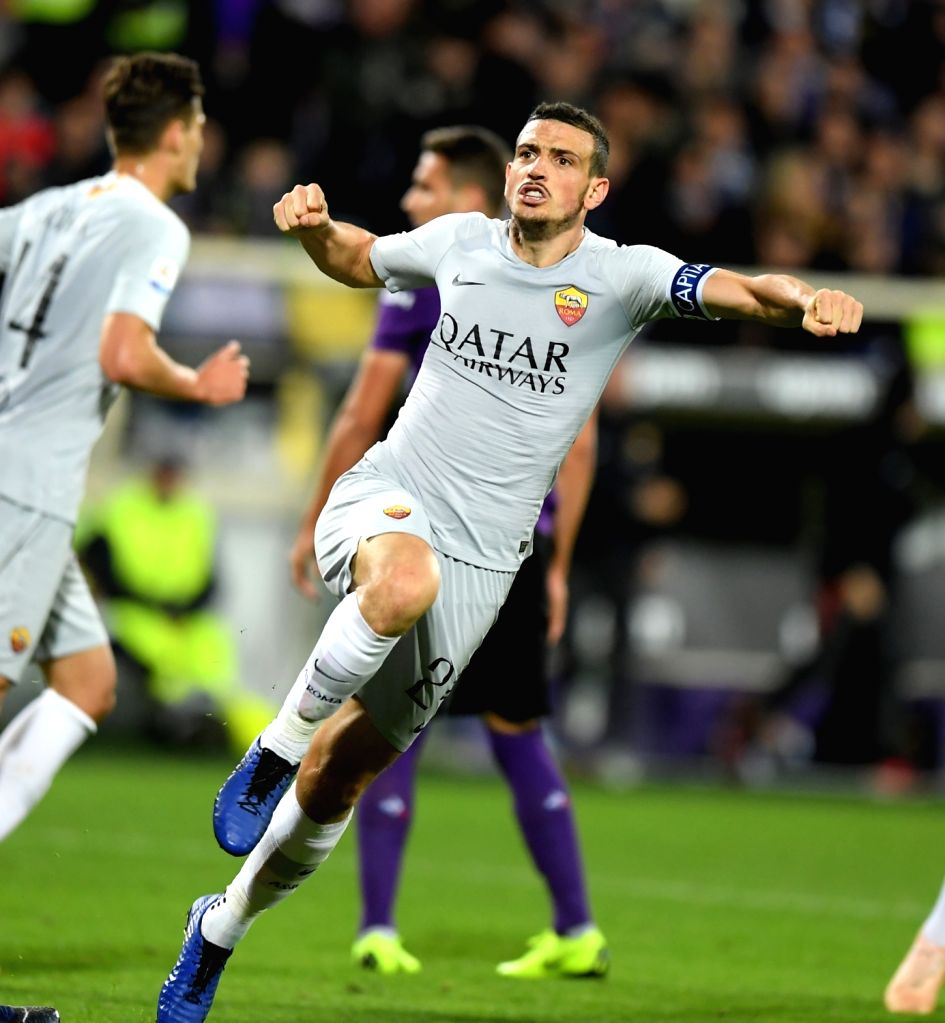 FLORENCE, Nov. 4, 2018 - As Roma's Alessandro Florenzi (R) celebrates during the Serie A soccer match between Fiorentina and Roma in Florence, Italy, Nov. 3, 2018. The match ended 1-1.