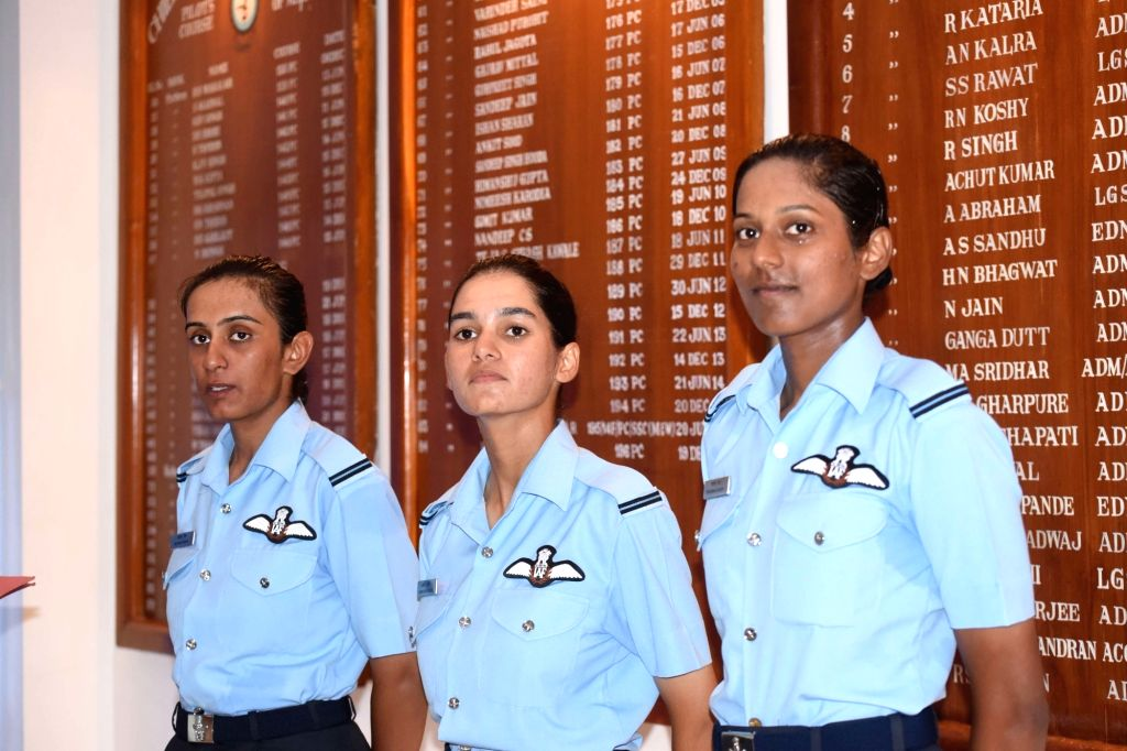 Flying Officers Avani Chaturvedi, Bhawana Kanth and Mohana Singh who were commissioned as India's first three women fighter pilots at Air Force Academy in Hyderabad on June 18, 2016. - Mohana Singh