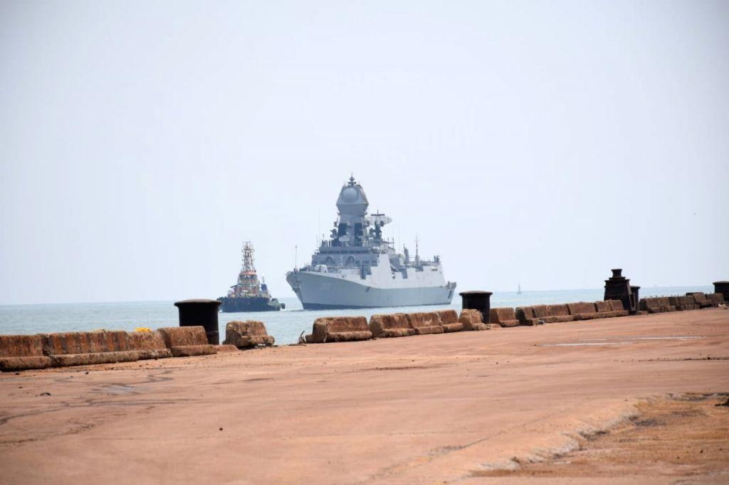 FM MANGALURU IN KARNATAKA Naval ship brings oxygen to Mangaluru port from Kuwait.