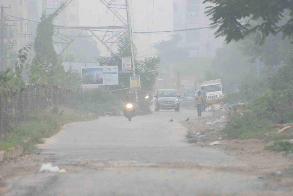 Fog engulfs Hyderabad on a winter evening, on Dec 3, 2019.