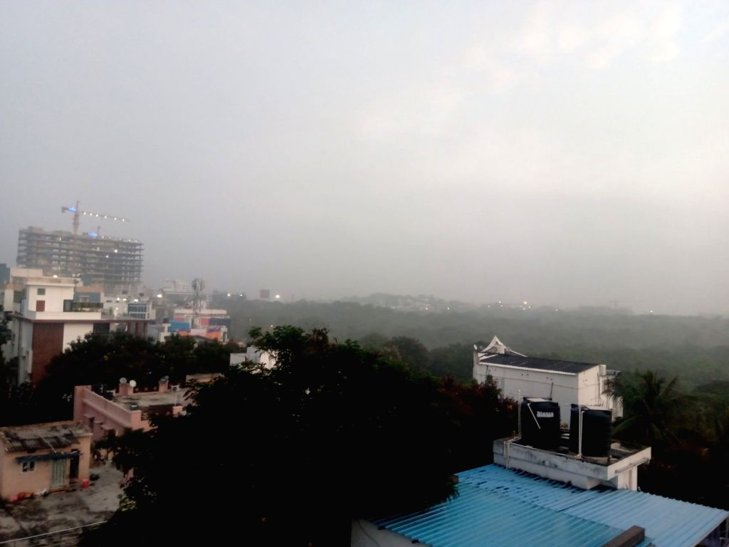 Fog reduces visibility in Hyderabad, on Oct 17, 2019.