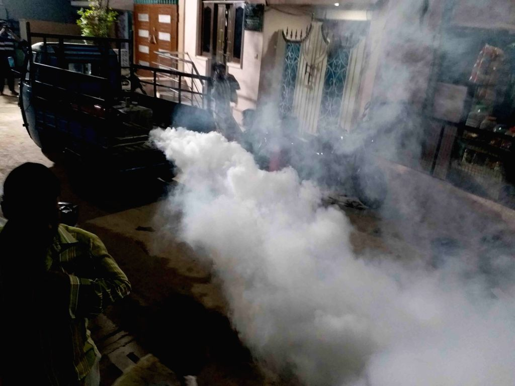 Fogging carried out to disinfect an area as a precautionary measure to contain the spread of COVID-19 (coronavirus) in Hyderabad on March 21, 2020.