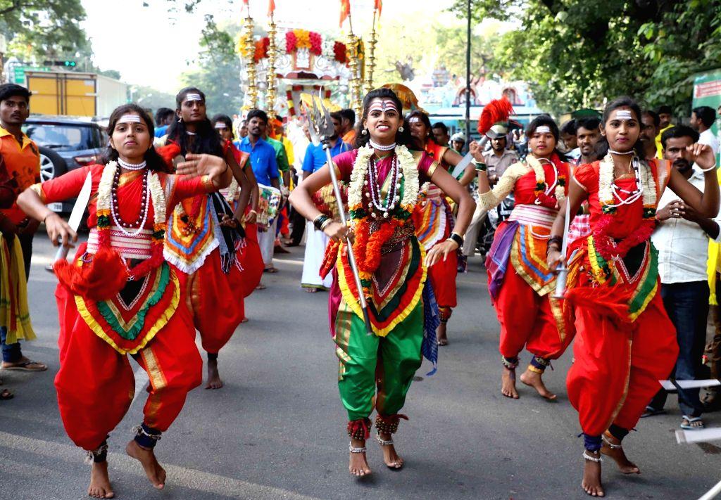 Folk artistes perform during Kanakadasa Jayanthi celebrations in Bengaluru on Nov 15, 2019.