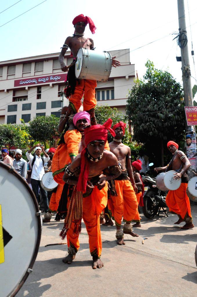 Folk artists of Arunoday Cultural Federation performing cultural activites at Sundaraiah Vignana Kenderam in Hyderabad on Feb. 1.