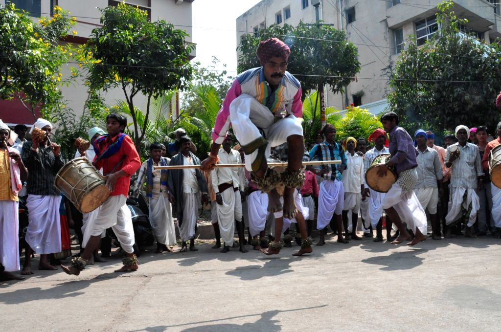 Folk artists of Arunoday Cultural Federation performing cultural activites at Sundaraiah Vignana Kenderam in Hyderabad on Feb. 1.