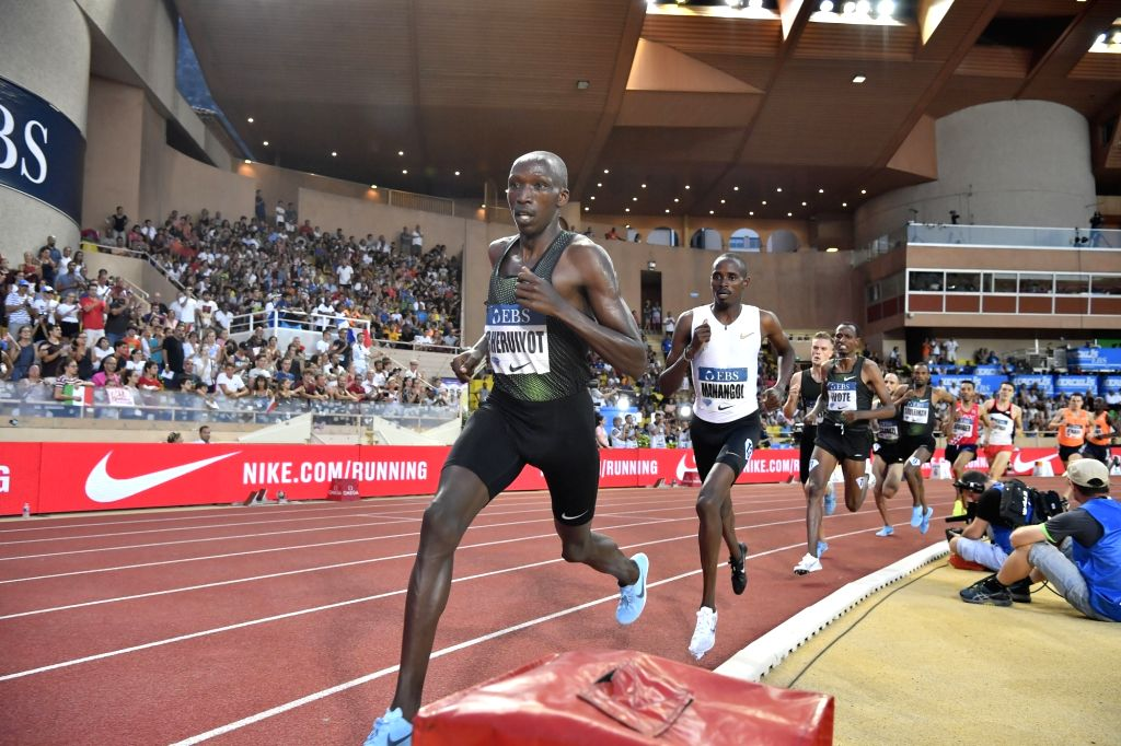FONTVIEILLE, July 21, 2018 - Timothy Cheruiyot (front) of Kenya competes during the men's 1500m match at the IAAF Diamond League athletics 'Herculis' meetings in Fontvieille, Monaco on July 20, 2018. ...