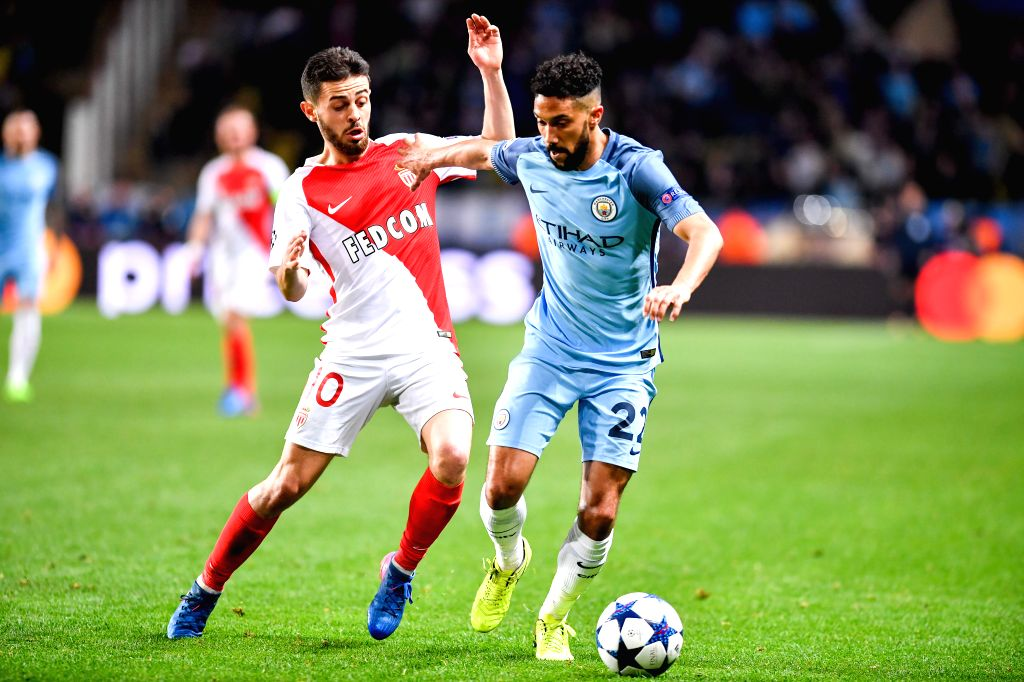 FONTVIEILLE, March 16, 2017 - Gael Clichy (R) of Manchester City competes with Bernardo Silva of AS Monaco during the second leg of the Champions League Round of 16 between Manchester City and AS ...