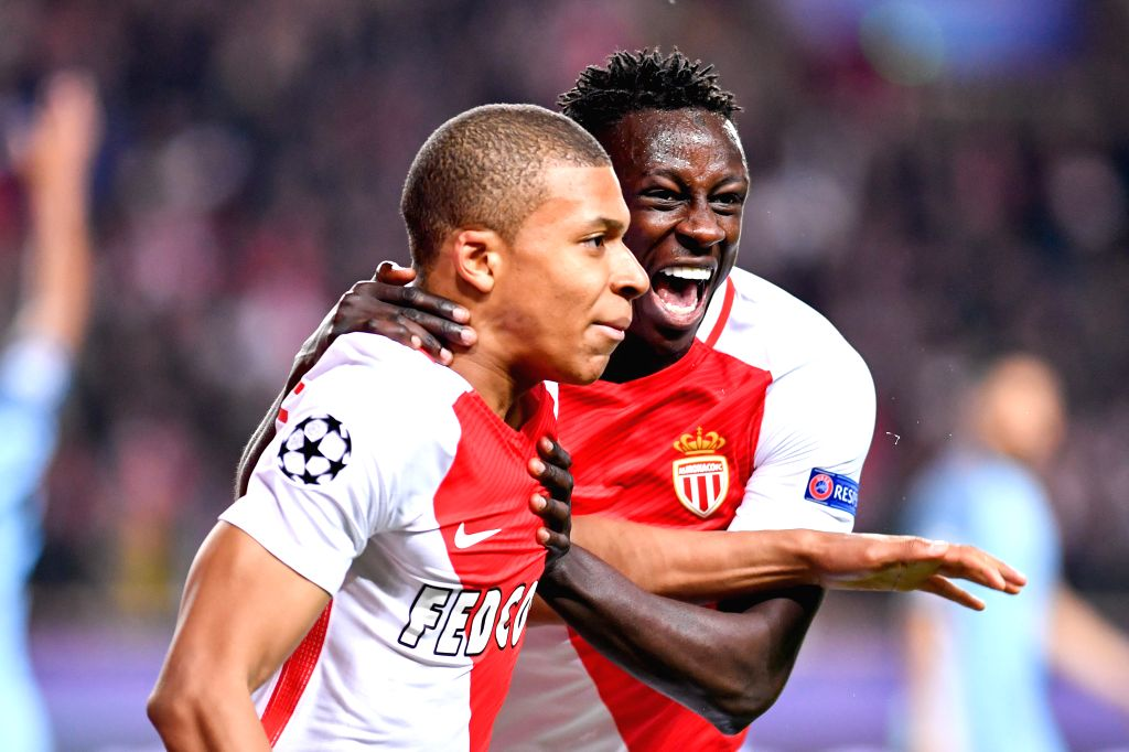 FONTVIEILLE, March 16, 2017 - Kylian Mbappe (L) of AS Monaco celebrates his goal during the second leg of the Champions League Round of 16 between Manchester City and AS Monaco at the Louis II ...