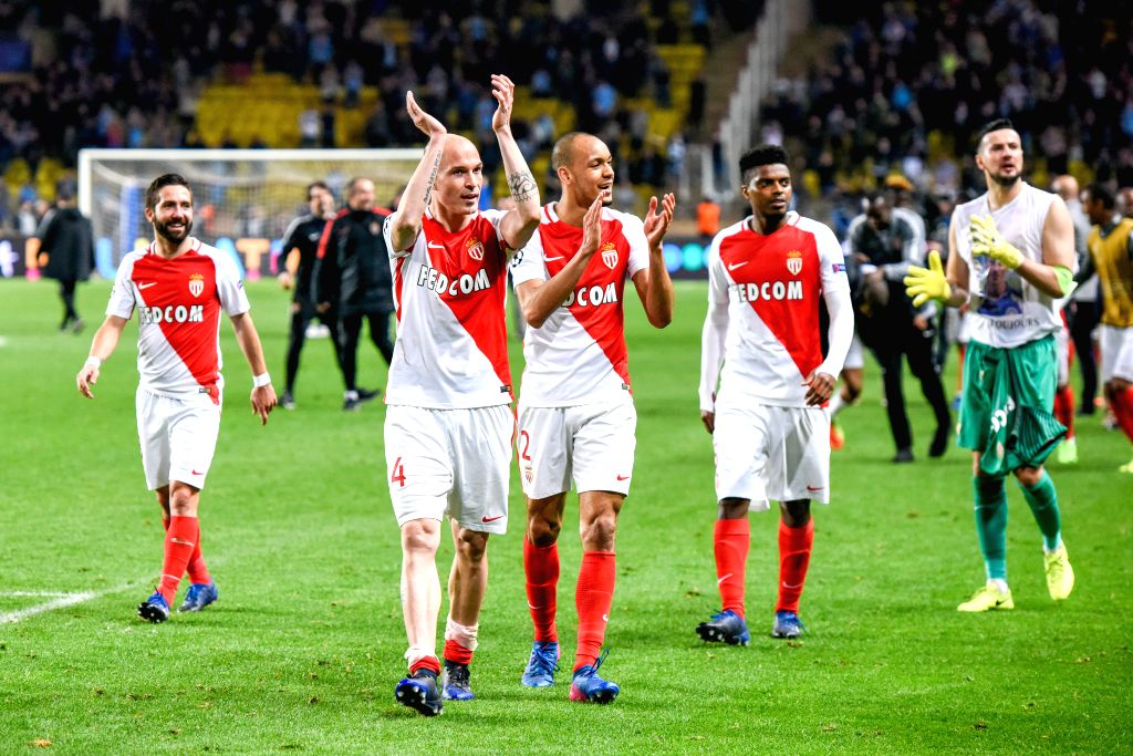 FONTVIEILLE, March 16, 2017 - Players of AS Monaco celebrate their goal after the second leg of the Champions League Round of 16 between Manchester City and AS Monaco at the Louis II Stadium in ...