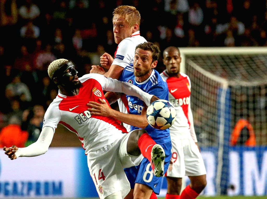FONTVIEILLE, May 4, 2017 - Tiemoue Bakayoko (L) from Monaco competes with Claudio Marchisio (R) from Juventus during the semifinal first leg match of UEFA Champions League in Fontvieille, Monaco on ...