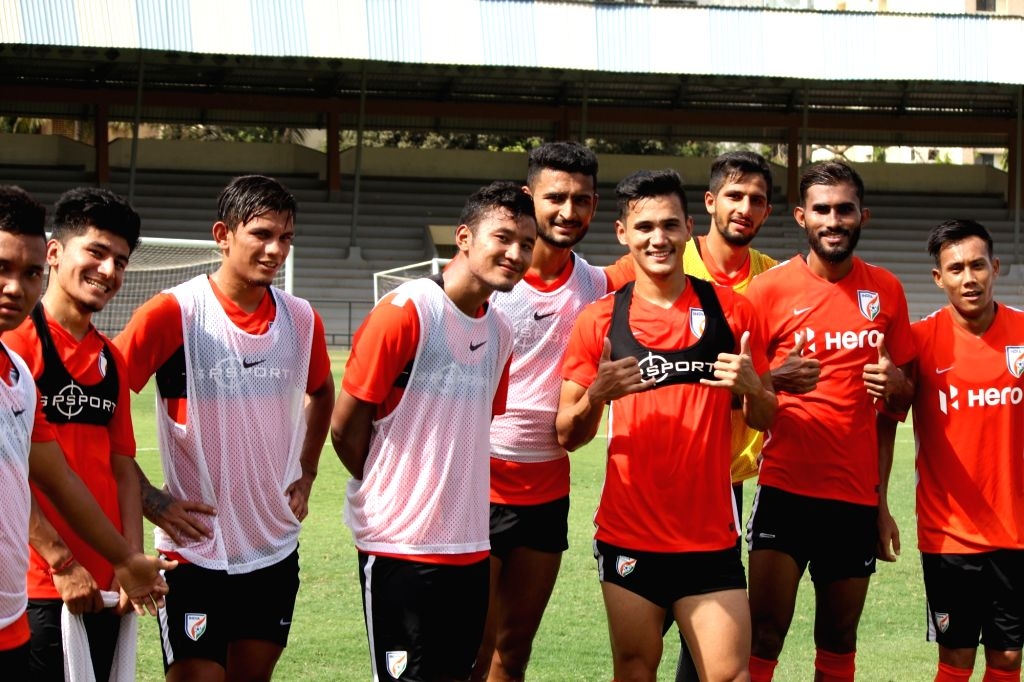 Footballer Lalruatthara and other players of the national football team during a practice session ahead of Intercontinental Cup, in Mumbai on May 21, 2018.
